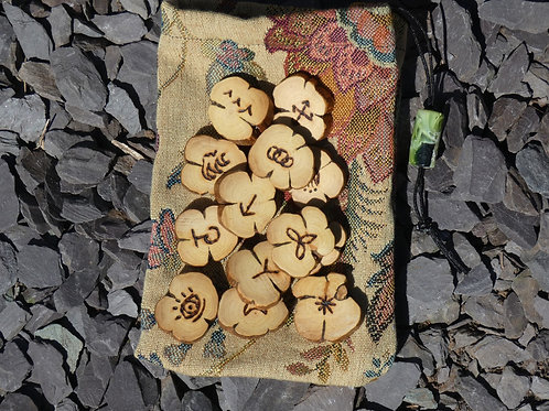 Witches Runes crafted from English Rosemary Wood