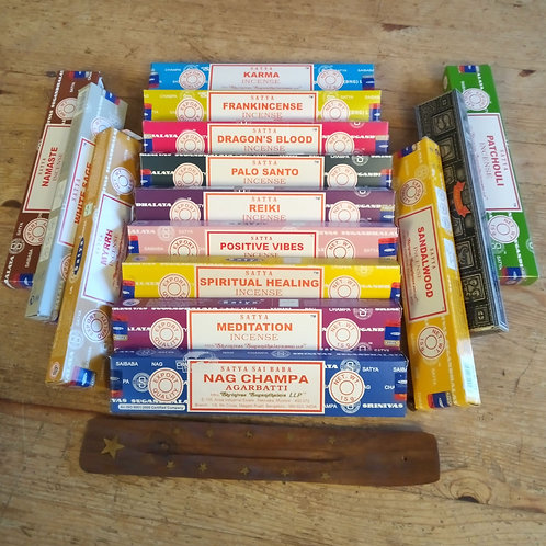 5 boxes of Traditional Temple Incense sticks incl Free wooden ash catcher!