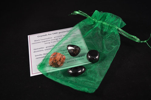 Crystal Healing Kit for Protection Against EMF incl tumble stones