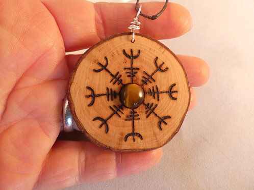 Wooden Amulet with Helm of Awe Symbol and Tigers Eye on Found Wood