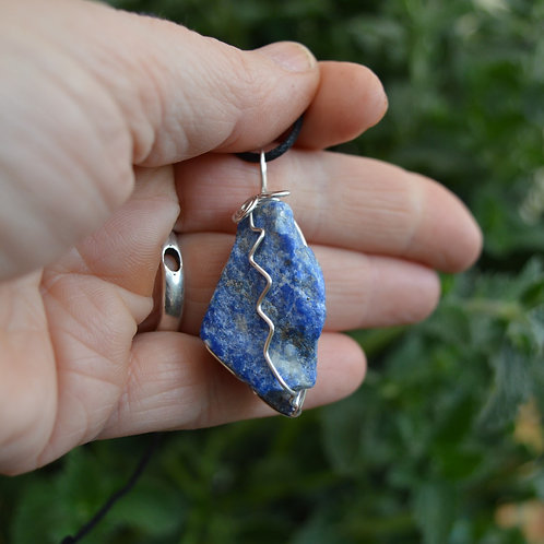 Lapis Lazuli Raw Crystal Pendant or Amulet