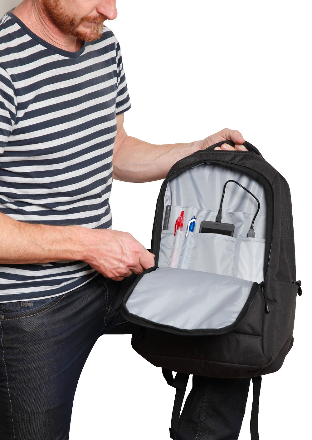 Bag with open sleeve and multiple organisational sleeves OEM customisable