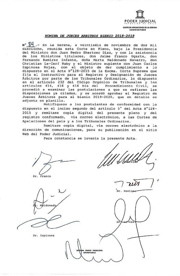 84 NOMINA JUECES ARBITROS, BIENIO  2019-