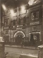 Palace Theatre, Sydney, lit at night, sh