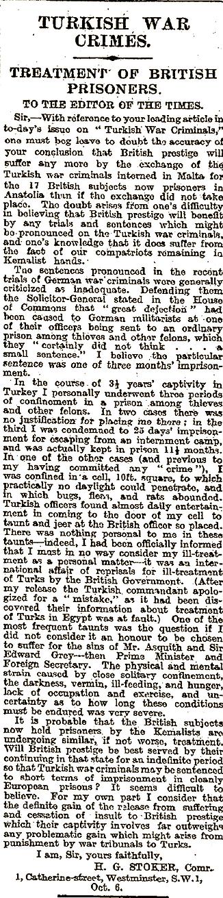 B  HHG Dacre Stoker - Turkish War Crimes