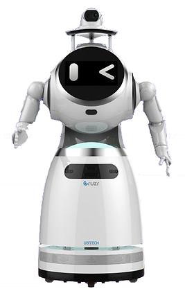 Robot de service Cruzr version Epidémique de face, clin d'oeil