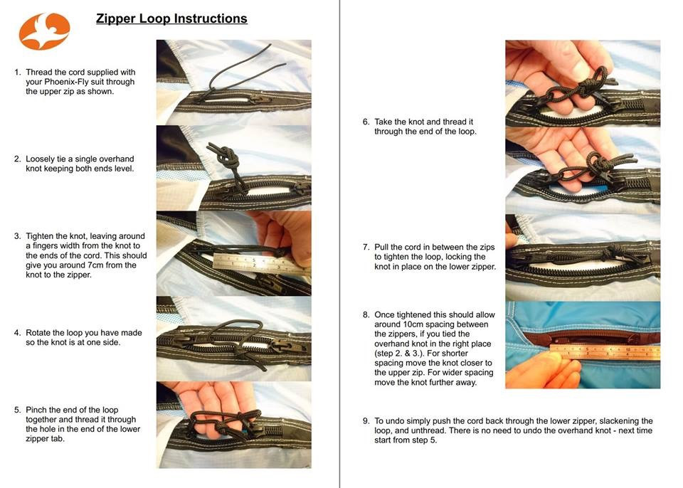 Phoenix-fly wingsuit zipper loop instructions / manual