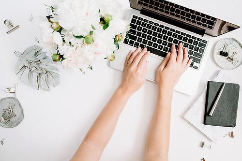 Flat lay home office desk. Women workspa