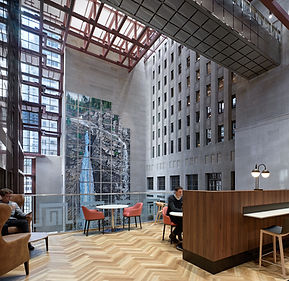 tall building interior wth cement city details