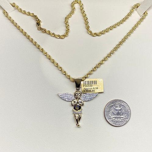Small Diamond Angel Pendant w/ Rope Necklace