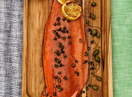 BBQ Blockbuster:  Bourbon-Cured Smoked Alaska Salmon with Mustard Sauce and Caper Berries