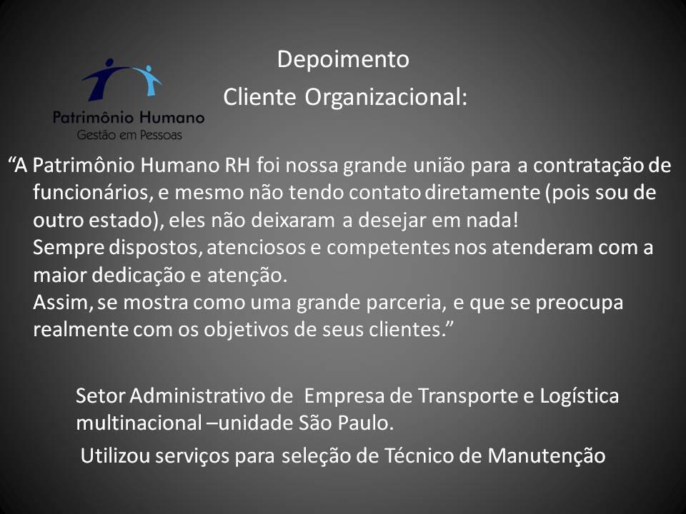 Depoimento Cliente Organizacional