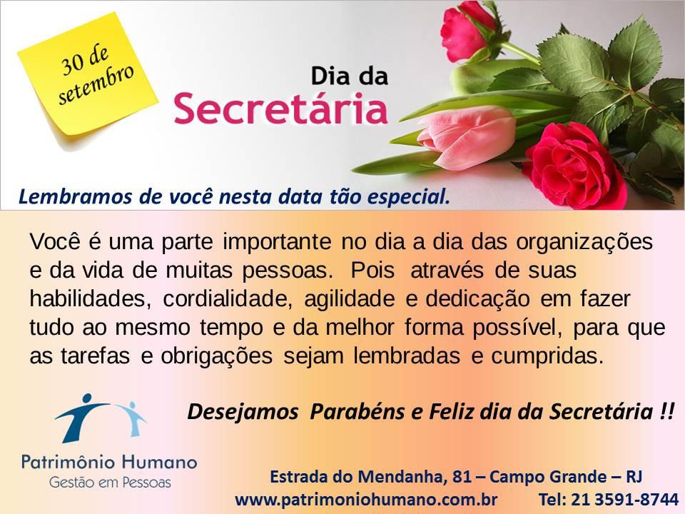 Feliz dia da Secretária  - 30 de Setembro