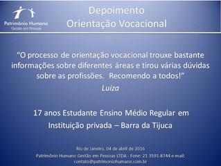 Orientação Vocacional - Depoimento: