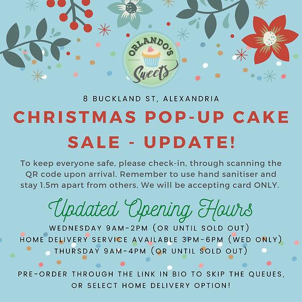 announcement! Christmas pop-up cake sale