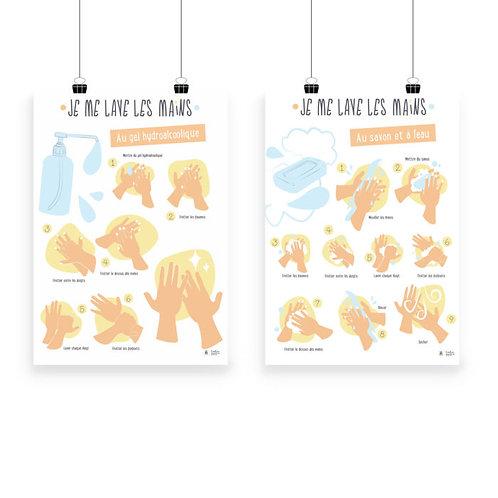 """L'ATELIER GIGOGNE - Poster """"Je me lave les mains"""""""