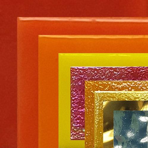זכוכית, 20*20*4, 400 גרם, 9 צבעי אש