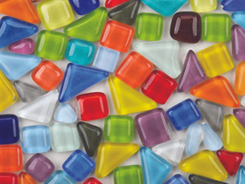 פסיפס זכוכית צורות שונות 250 גרם מעורב