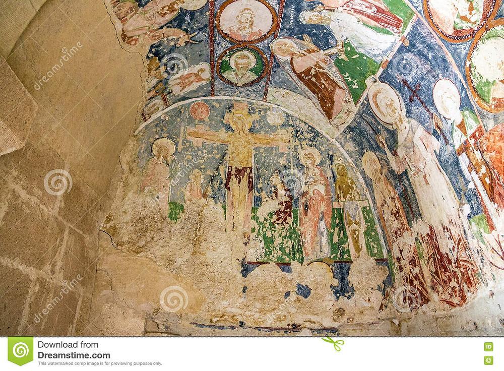 Cave fresco in Cappadocia of Christ.