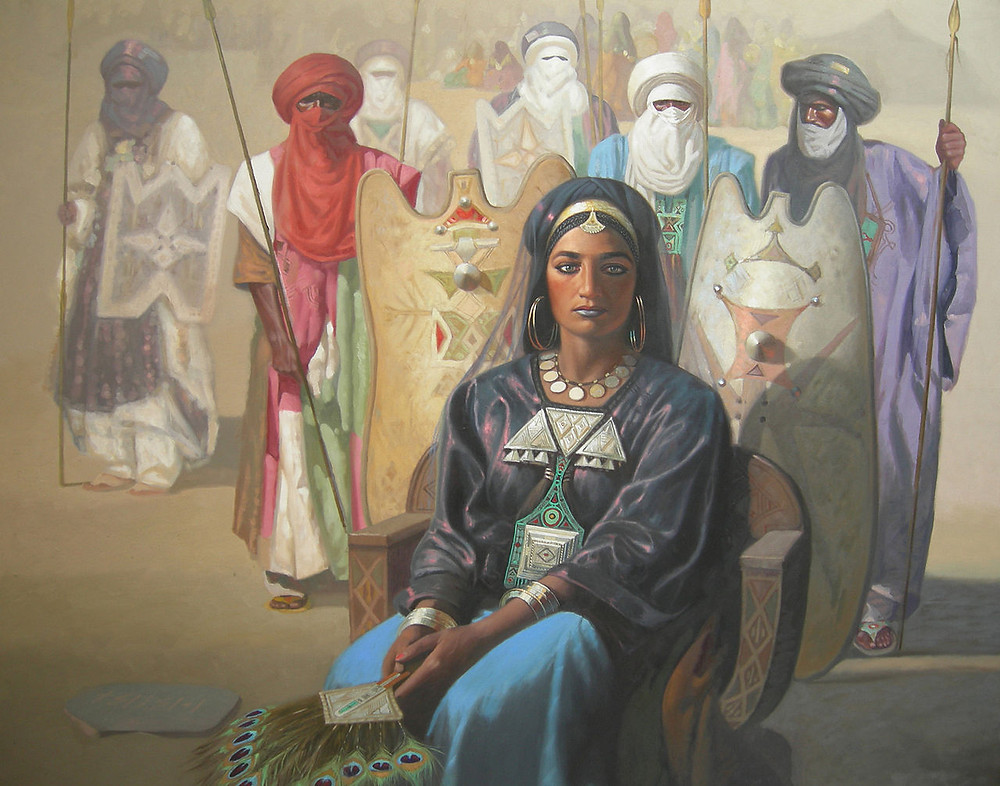 Artist's representation of Tin Hinan, an ancient queen of the Hoggar and founding matriarch of the Tuareg