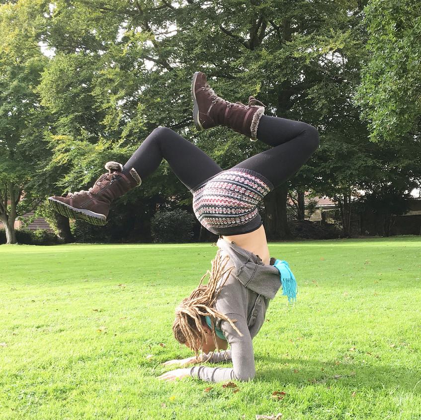 Upside down in Glastonbury!