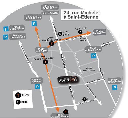 Plan d'accès Saint Etienne Audition