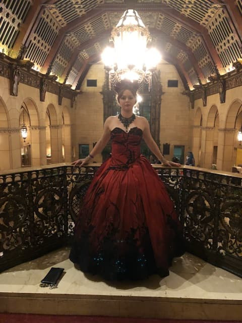 Blood Red Labyrinth Ball Gown