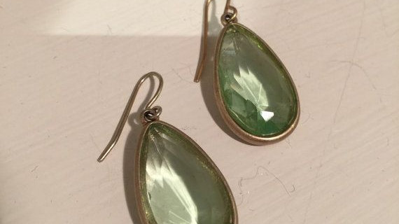Lime color glass drop earrings