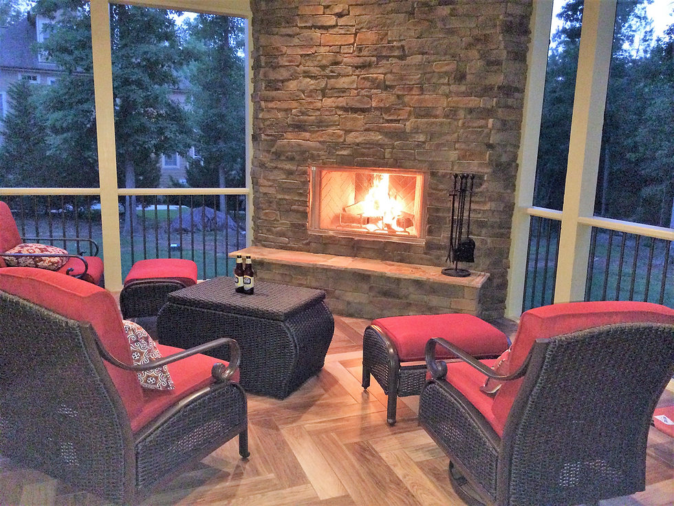 fireplace,stone,screened porch, tile