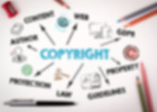 Copyright Concept. Chart with keywords a