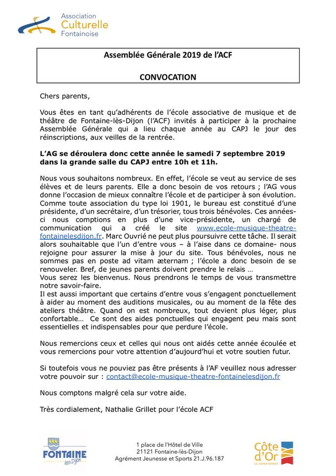 Assemblée Générale de l'ACF : nous avons besoin de vous !