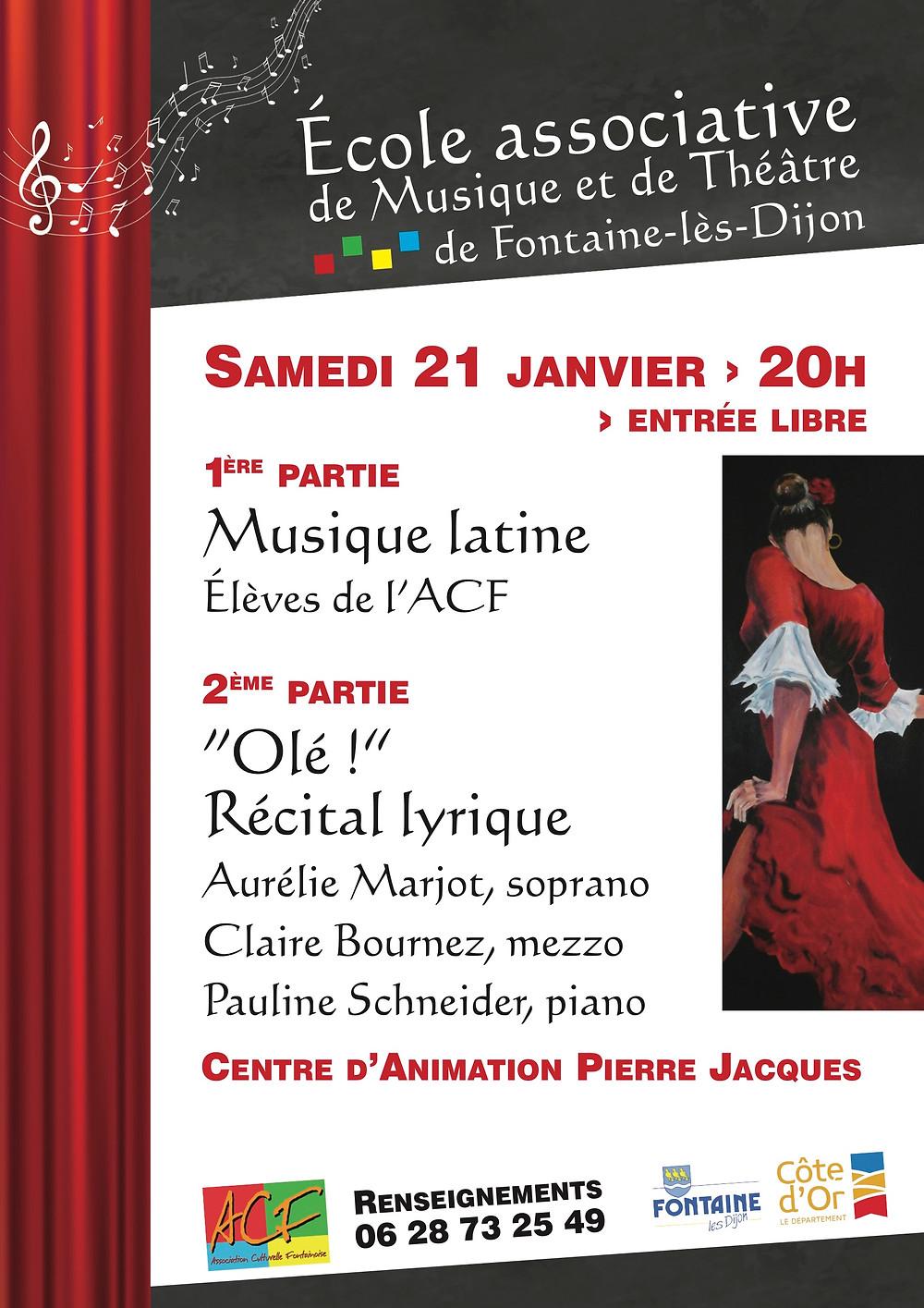 L'école associative de musique et de théâtre a organisé une soirée le samedi 21 janvier 2017 au Centre d'animation Pierre Jacques à Fontaine les Dijon.