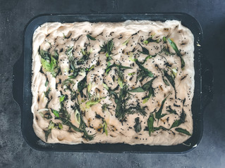 Easy focaccia with rosemary, sage and garlic