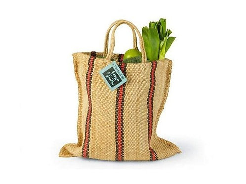 Red and Black Stripey woven bag
