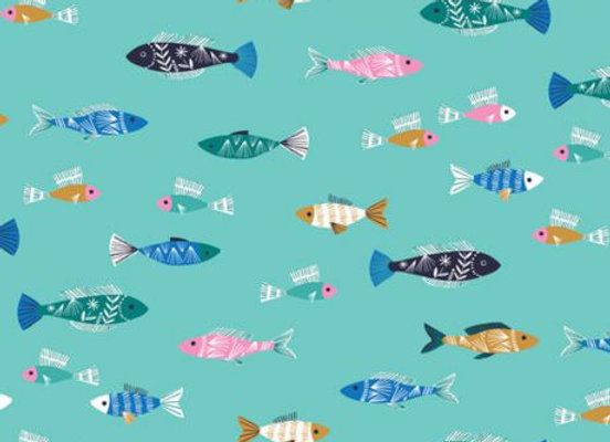 Tissu Dashwood into the blue - poissons