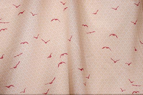 Popeline tissu BIO - Oiseaux orangés
