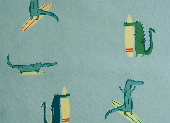 Popeline de coton Surfing Crocodile