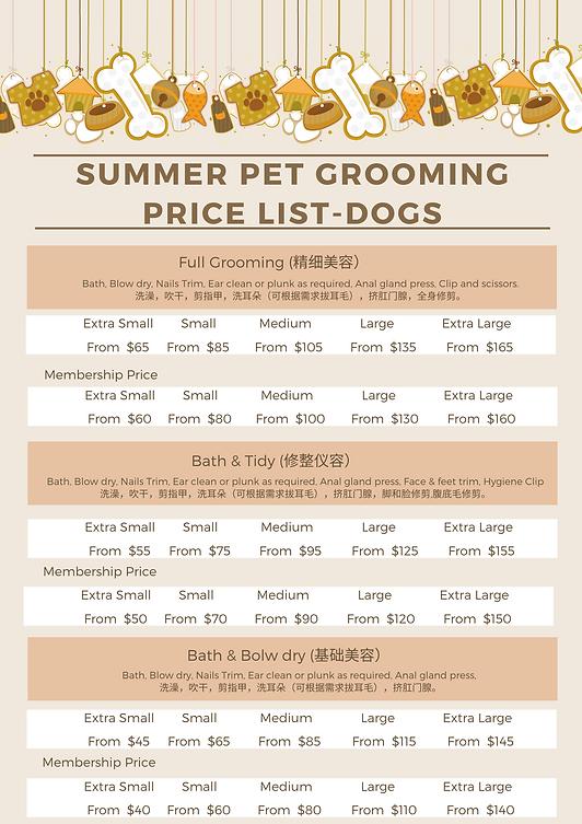 Dog Grooming Price List