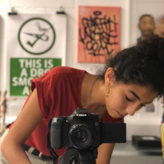 Film-maker, Sky Ceaser on set filming