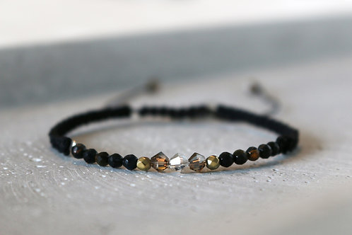 Armband schwarz -braun mit Swarovski Elements