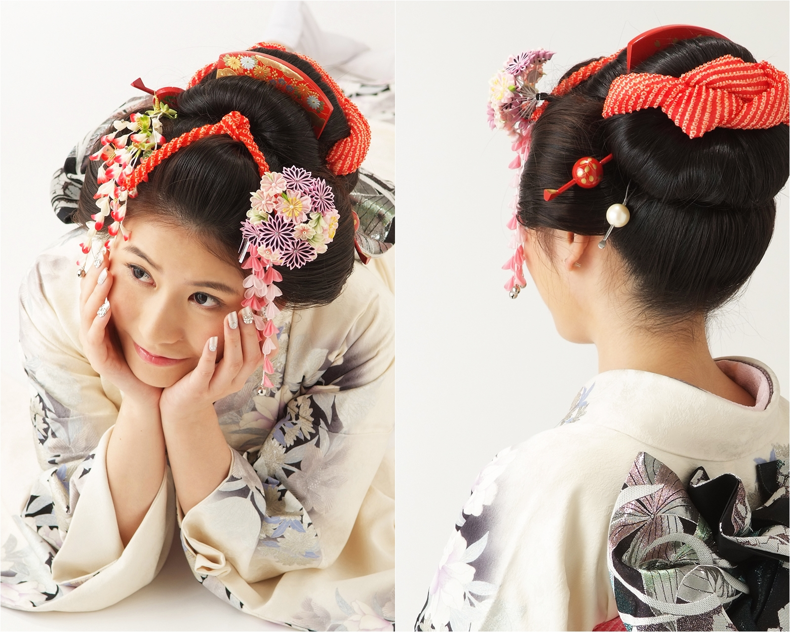 どの角度から見ても豪華な日本髪