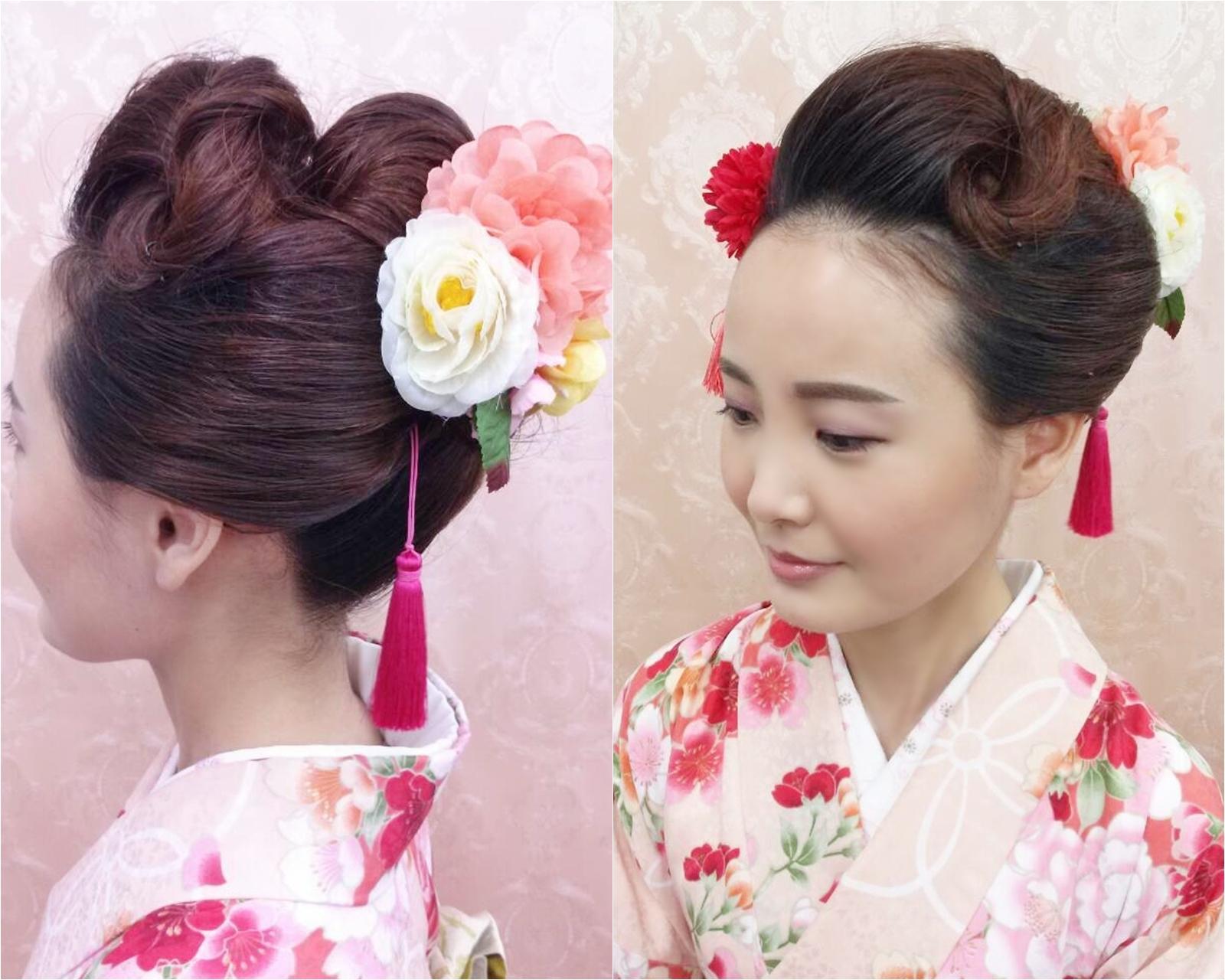 フロントねじりアレンジのお出かけ日本髪
