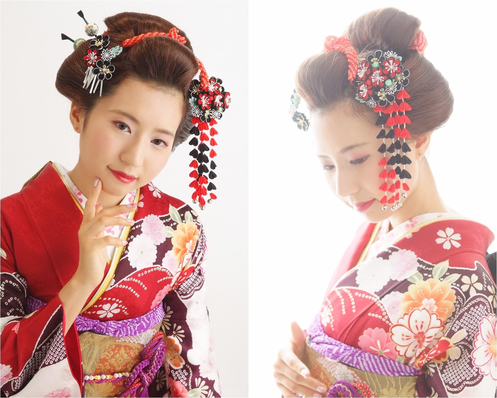 華やかな振袖に新日本髪