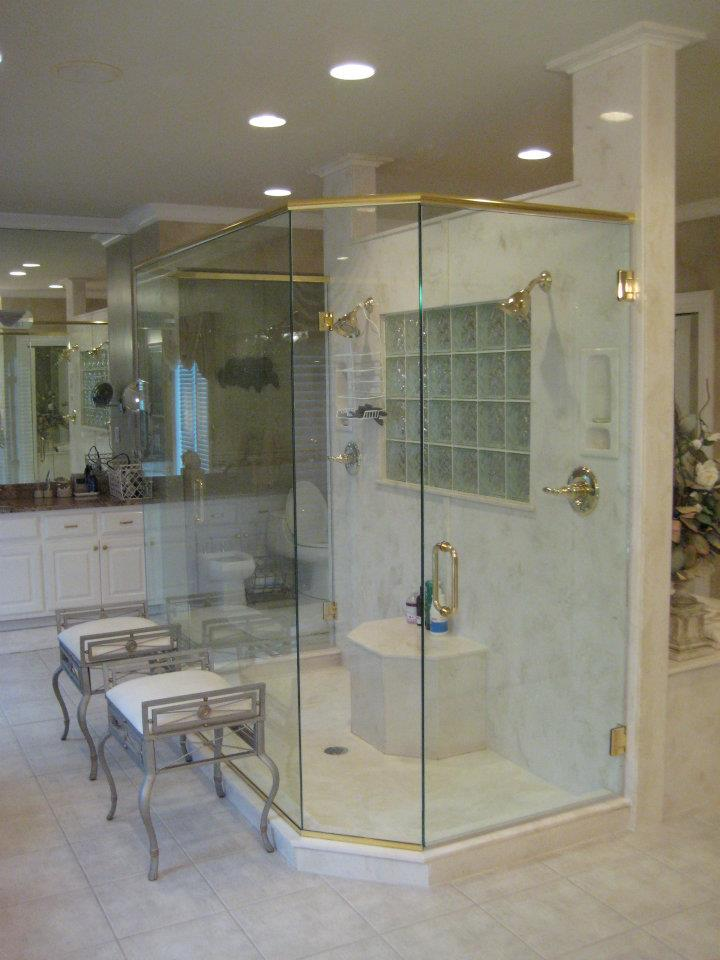 Glass Shower Doors - Large Dual Entry Glass Shower Enclosure