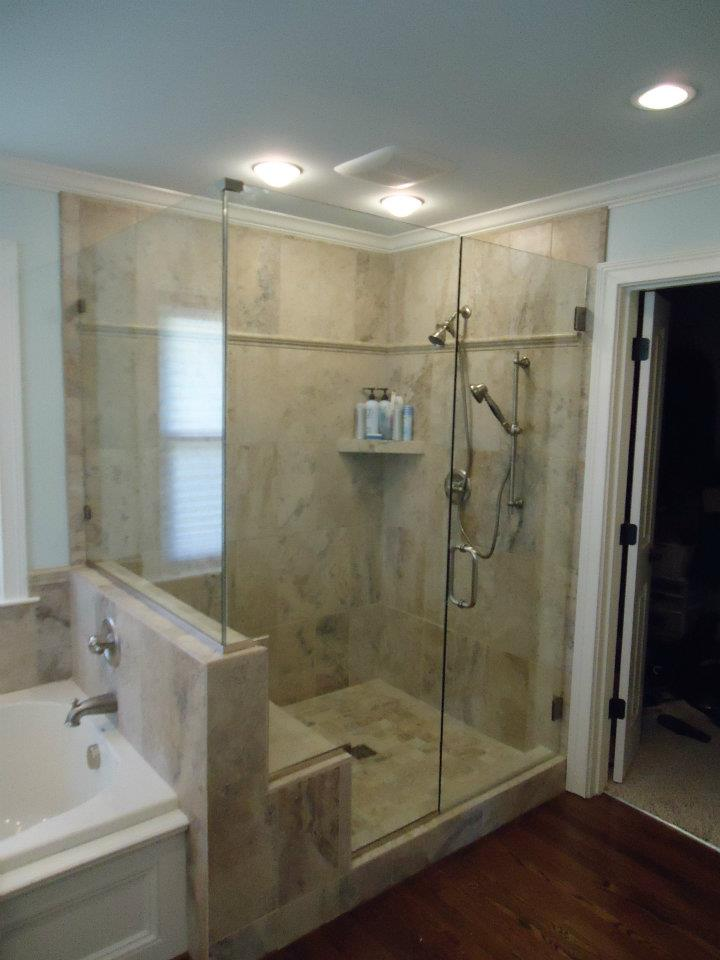 Glass Shower Doors - Double Notched Panel