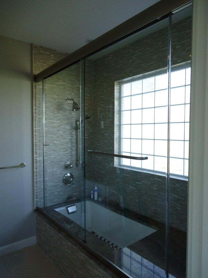 Glass Shower Doors - Heavy Sliding Doors With Inline Panels