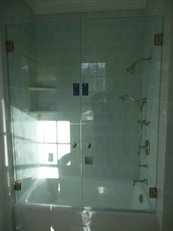 Glass Shower Doors - Frameless French Doors on Tub
