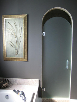 Glass Shower Doors - arch top frameless door - satin etch glass