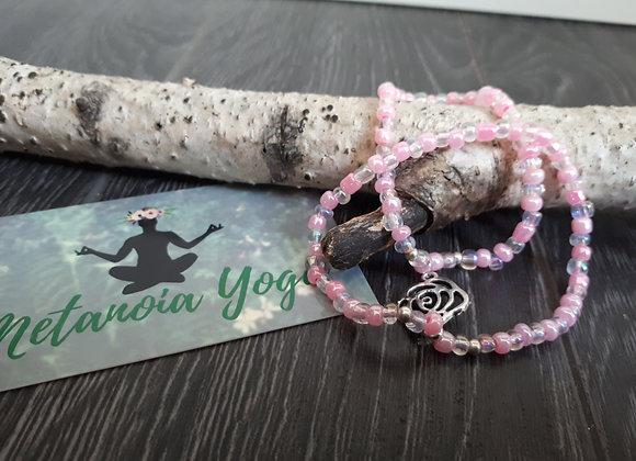 Bracelet double perlé rosé et rose