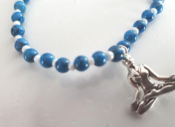 Bracelet perlé Sukhasana et turquoise